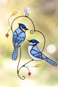 Stained glass blue jays suncatcher Bird window decor Lovely gift for Mothers Day Stained Glass Ornaments, Stained Glass Birds, Stained Glass Crafts, Stained Glass Panels, Custom Stained Glass, Stained Glass Designs, Sea Glass Mosaic, Fused Glass, 3d Modelle