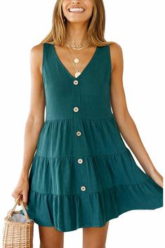 PinUp Angel Women Sleeveless V Neck Tunic Dress Summer Casual Tiered Pleated Shirt Dress Beach Wear Dresses, Casual Summer Dresses, Summer Dresses For Women, Cute Dresses, Dress Casual, Dress Summer, Women's Casual, V Neck Dress, Shirt Dress