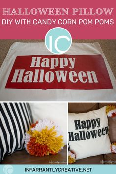 Happy almost Halloween ya'll! I made an adorable Halloween pillow with pom pom accents. Plus it was so quick and easy since I got some help from IKEA…read on to find out how I made this adorable Halloween Pillow with Candy Corn Pom Poms that even your kids can help you make!