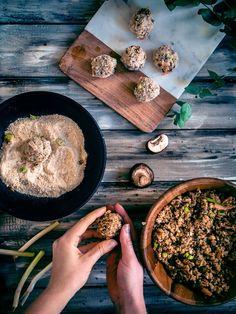 Joka paikan kvinoa-sienipyörykät (V, GF) – Viimeistä murua myöten Hummus, Ethnic Recipes, Food, Kitchen, Cooking, Essen, Kitchens, Meals, Cuisine