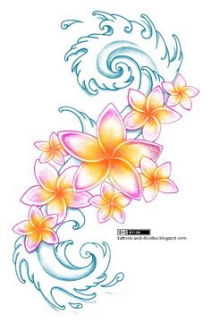 Tattoos and doodles: Plumeria flowers and waves. Love this as a possible tattoo for our Hawaii beach wedding - plumeria being the flowers of my bouquet.