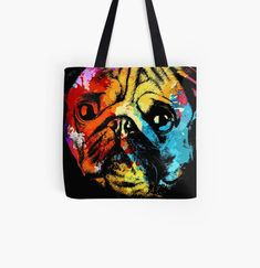 Cool Pug dog animal print tote bag. Watercolor art work for Pug doggo lovers. Animal Print Tote Bags, Beagle Art, Dog Artwork, Cat Dad, Cute Pugs, Cat Colors, Baby Owls, Watercolor Art, Art Work