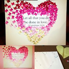 ** DIY ombre heart! ** Use butterfly puncher to punch out your butterflies from pink colored paper, and paste on canvas with tacky glue! I included a quote in the middle by printing it out and taping on canvas! Made as a gift for friend to hang over her bed #crafts #butterflies #heart #canvas