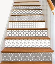 15steps Stair Riser Vinyl Strips Removable Sticker Peel & Stick : Geometrical Taupe
