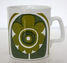 Retro Vintage Staffordshire Potteries Green by janestangerinehouse