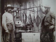 Cabinet Card of Two Fisherman Hunters Fishing Rod Creel Fish Rifles Fly Reels  