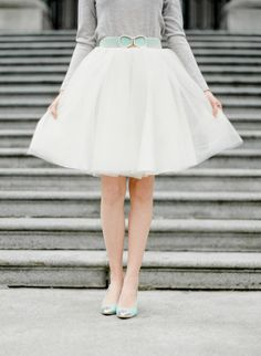 Tulle skirt and mint accessories: http://www.stylemepretty.com/canada-weddings/british-columbia/vancouver/2015/06/29/vancouver-art-gallery-engagement-session/ | Photography: Lauren Kurc - http://www.laurenkurc.com/