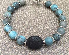 Your place to buy and sell all things handmade Rock Jewelry, Beaded Jewelry, Jewelry Bracelets, Jewelery, Jewellery Diy, Aromatherapy Jewelry, Diffuser Jewelry, Stretch Bracelets, Handcrafted Jewelry