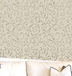 Cutting Edge Stencils - Lily Scroll Allover Stencil -- maybe a winner... simple pattern... not too heavy for ceiling.