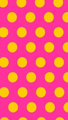 Pink & Yellow Dots iPhone Wallpaper