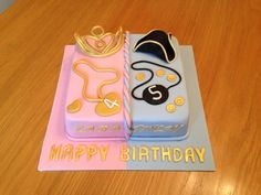 Princess and Pirate joint birthday cake by Julie at Piped Delights