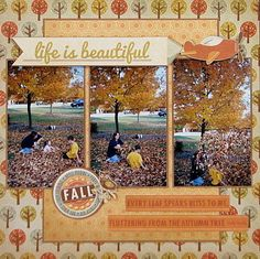 2017 We R Memory Keepers Autumn Splendor Reveal : Gallery : A Cherry On Top Scrapbook Sketches, Scrapbook Page Layouts, Scrapbook Paper Crafts, Scrapbook Cards, Scrapbooking Ideas, Paper Crafting, Scrapbook Photos, Scrapbook Titles, Scrapbook Designs