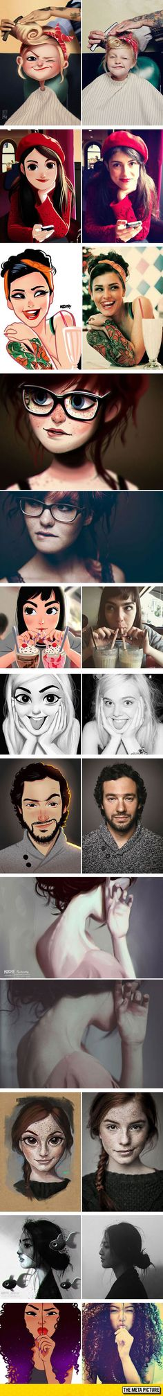 Artist Turns Photos Of Random People Into Fun Illustrations. I want this done :)                                                                                                                                                     More
