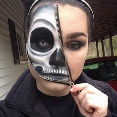 Unzipped Zipper Skeleton Makeup Look
