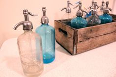 Vintage Seltzer Bottles with Wooden Crate - 10 Bottles Blue and Clear