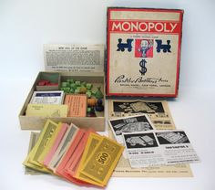 1935 Monopoly Game WITH Board Antique Games by FindingMaineVintage, $200.00