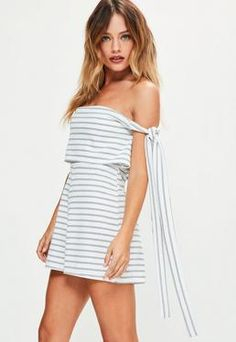 60f580b672f Missguided White Striped Bardot Tie Side Double Layer Romper Holiday  Fashion