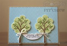 Ashley Harris used the tree builder images to create these super cute TWINSY Trees. Check out how she created a hammock with cardstock and the sentiment from the Zip n By set. This would also make a fabulous BABY card design.