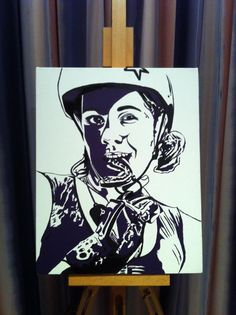 One of mine... My sister, the Derby girl. Acrylic on canvas, 2012