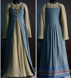 "Pleated linen dress and apron-dress with pleats in the back for fullness but opened in front. Looks like the design from D. Rushworth, ""Handbook of Viking Women's Dress AD 700-1200"" Made by Savelyeva Ekaterina https://www.facebook.com/savelyeva.ekaterina.7?fref=photo"