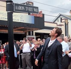 """Aaron Tveit Way!! Aaron's got his own street!!I guess if he wanted to he could now tell people to, """"Get out of my way."""""""