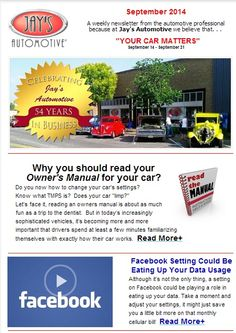 #YourCar Matters is ready for a good read. Learn a simple Facebook setting which could be eating up your data usage; 33 genius hacks that could make your parenting job much simpler, Jay's Kitchen - #IndianCorndogs, and a couple of other things in our #DidNotKnowItFile!  #YourCarMatters #JaysAutomotive1959 #Health #Detox #AAA