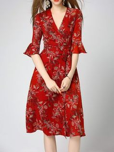 Bell Sleeve Floral-print A-line Cotton-blend Casual Wrap Midi Dress