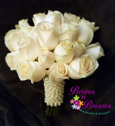 Traditional White Rose bouquet with Pearl Wrap