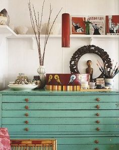 vintage seafoam green flat file cabinet   (I want something like this for my jewelry!)    image credit: Sense of Style: Colour, by Shannon Fricke.