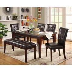 Weston Home Faux Marble 6-Piece Dining Set, Dark Espresso