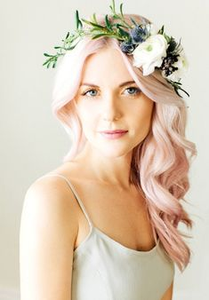 Pink hair + green flower crown. Photo Credit: http://www.deerpearlflowers.com/romantic-and-timeless-green-wedding-color-ideas/