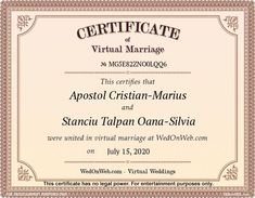 Marriage Certificate - Virtual weddings for fun by WEDonWEB. Wedding Certificate, Marriage Certificate, Maria Jose, Marceline, Got Married, Married Life, Angeles, Place Card Holders, The Unit