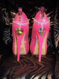 High Heel Platform Spiked Women Shoes Hot Pink