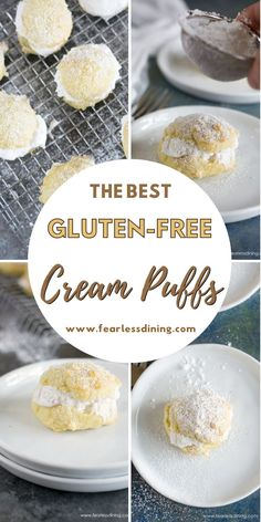 These light and fluffy gluten free cream puffs make a delicious dessert. Fill with whipped cream, ice cream, frosting, or Nutella :-). Easy step by step directions. fearlessdining Gluten Free Party Food, Gluten Free Appetizers, Gluten Free Dinner, Gluten Free Baking, Gluten Free Desserts, Gluten Free Recipes, Delicious Desserts, Gluten Free Cream Puffs Recipe, Cream Puff Recipe
