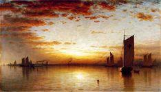 Sanford Robinson Gifford (1823-1880), Sunset, Bay of New York - 1878