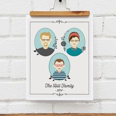 Custom gifts for mom: Custom illustrated modern family tree at near and dear designs on etsy