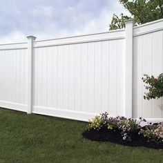 vinyl privacy fence kit for the Emblem style vinyl fence by Freedom Outdoor Living, available at Lowes. White Vinyl Fence, Vinyl Fence Panels, Vinyl Privacy Fence, White Fence, Vinyl Fencing, Backyard Fences, Garden Fencing, Backyard Landscaping, Gardens