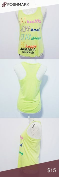 """Racerback Gym Workout Tee Tank Top Small Graffiti Racerback Gym Workout Tee Tank Top Small Graffiti  By CHIN-UP Apparel  Highlighter green color   Size Small S Approx measurements: Bust 34"""" Length 24""""  Smoke free and pet free home   Very good condition fain stain on front last pic Chin-up Apparel Tops Tank Tops"""