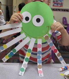 Mrs. Karen's Preschool Ideas - counting with circles on an octopus  Large circle for octopus body and attach eight strips to the bottom numbered 1-8. Have children draw on a face and add the appropriate number of circles to each strip.