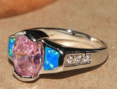 blue fire opal pink topaz ring Gemstone silver jewelry Sz 8.25 chic engagement $20