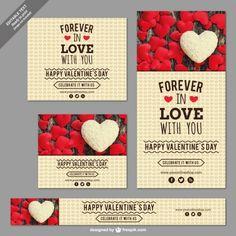 Set de banners de San Valentín. Vector gratis.