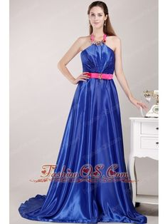 Blue Empire Halter Top Brush Elastic Woven Satin Beading and Sash Prom / Pageant Dress- $144.49  www.fashionos.com  2013 popular prom dress for formal evening | summer collection | spring collection | fitted floor length prom dress | where you can order prom dress | customer made prom dress | beaded and ruched floor length prom dress | prom dress with beading and ruching | discount prom dress on sale | prom dress with waistband |