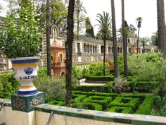 The gardens of the Alcazar Palace   / The Alcazar lies in the heart of Seville and its cool gardens and grounds have pleased me well.
