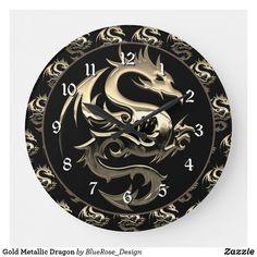 Gold Metallic Dragon Large Clock Large Clock, Wall Clocks, Wallpaper S, Wall Murals, Colorful Backgrounds, Metallic, Dragon, Wall Decor, Tapestry