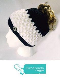 Handmade Messy Bun Hat Stripe White Black Beanie Wood Button Ponytail Runner Crochet Multicolor https://www.amazon.com/dp/B01N7WQT2I/ref=hnd_sw_r_pi_dp_an6Iyb8JJBYRQ #handmadeatamazon