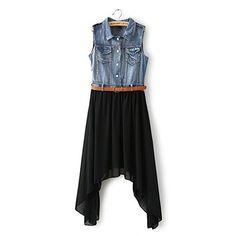 2014 Sommer Frauen Schwarz Geschaeftskleider Slim Business Ballonkleid aus Chiffon und Jeansstoff Ohne Guertel Fashion Season, http://www.amazon.de/dp/B00LC0C5Y6/ref=cm_sw_r_pi_dp_qcsStb17MG9SY