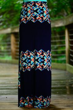 Geo Color Block Maxi Skirt, Navy