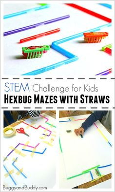STEM Challenge for Kids: Build a Hexbug Maze with Straws (Fun science and engineering activity for a class or to do on a rainy day! Stem Science, Teaching Science, Science For Kids, Weird Science, Physical Science, Science Education, Earth Science, Steam Activities, Science Activities