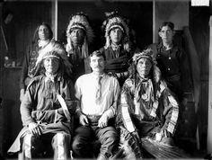 Standing L-R: Sam Pine Bird (Oglala), Oscar Whetstone (Oglala), James Fast Wolf (Oglala), J. M. Burke Sitting L-R: Walks Under Ground (Oglala), William Craver, Shot In The Eye (Oglala) – 1907