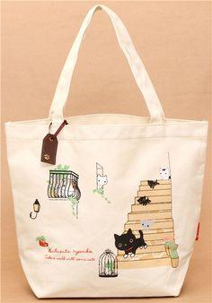 066ac1bef7 Kutusita Nyanko cat on stairs canvas linen handbag